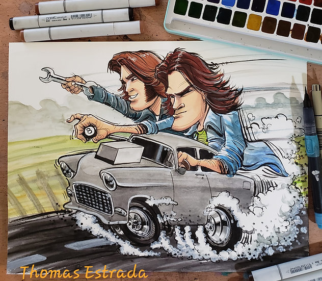 Two Lane Blacktop Hand Signed Print