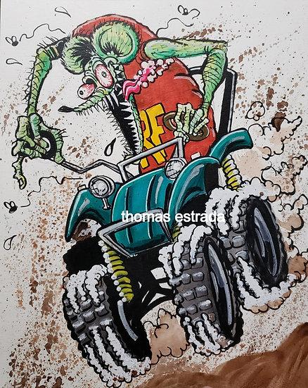 ORIGINAL 9x12  Buggy Fink Illustration.