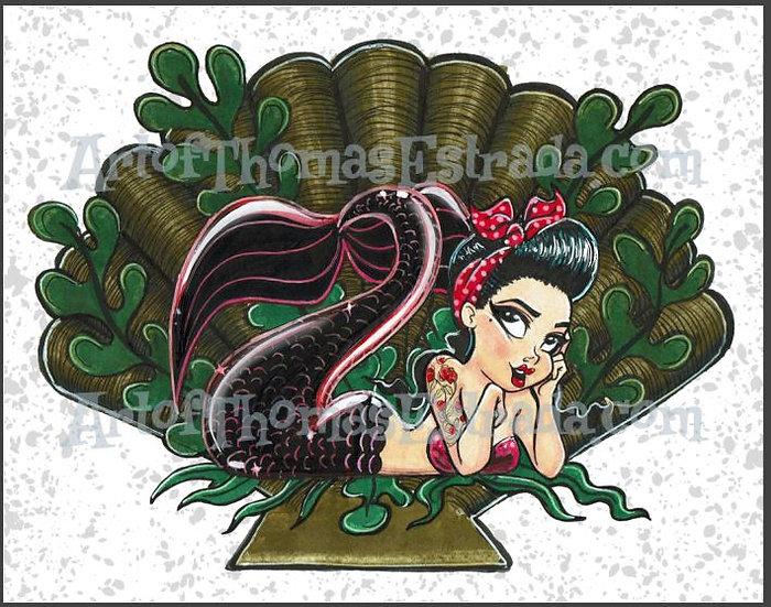 Mermaid in Black Print
