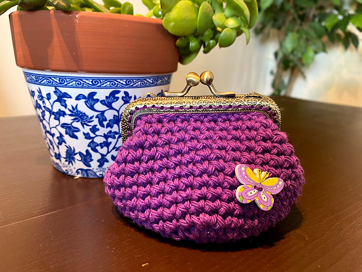 Coin Purse Plum Butterfly