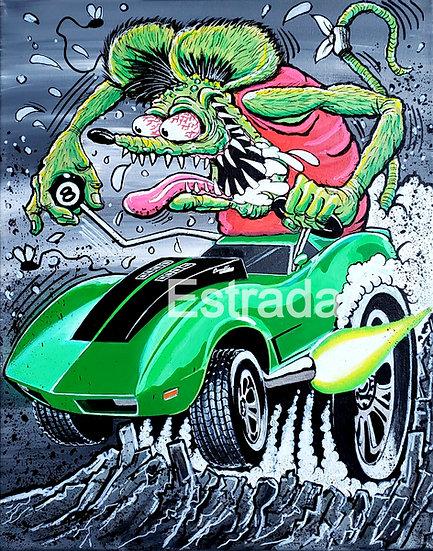 Green Corvette Print