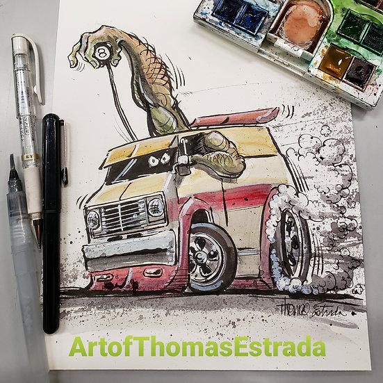 8x10 ORIGINAL Watercolor/ink