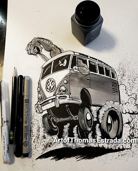 """ORIGINAL """"Bus"""" 11x14 Illustration."""