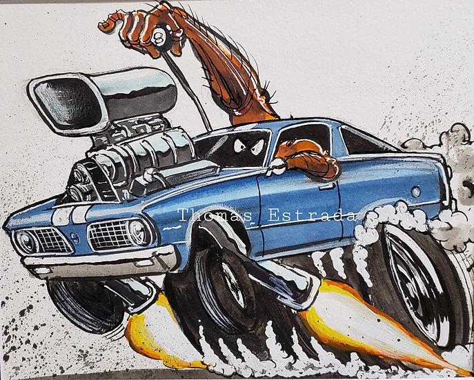 ORIGINAL '66 Fastback Barracuda 8x10 Illustration
