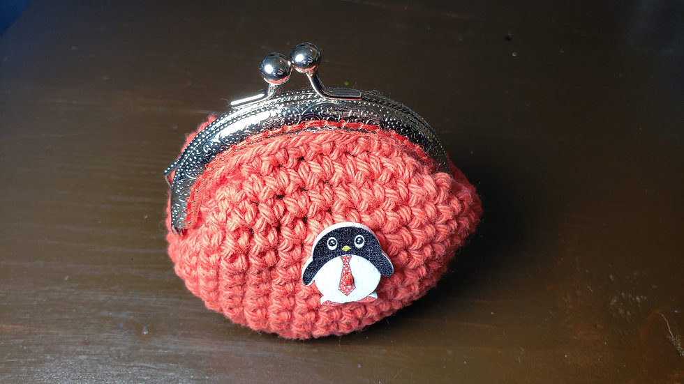 Coin Purse Red Penguin