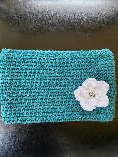 Makeup Pouch Aqua with White flower