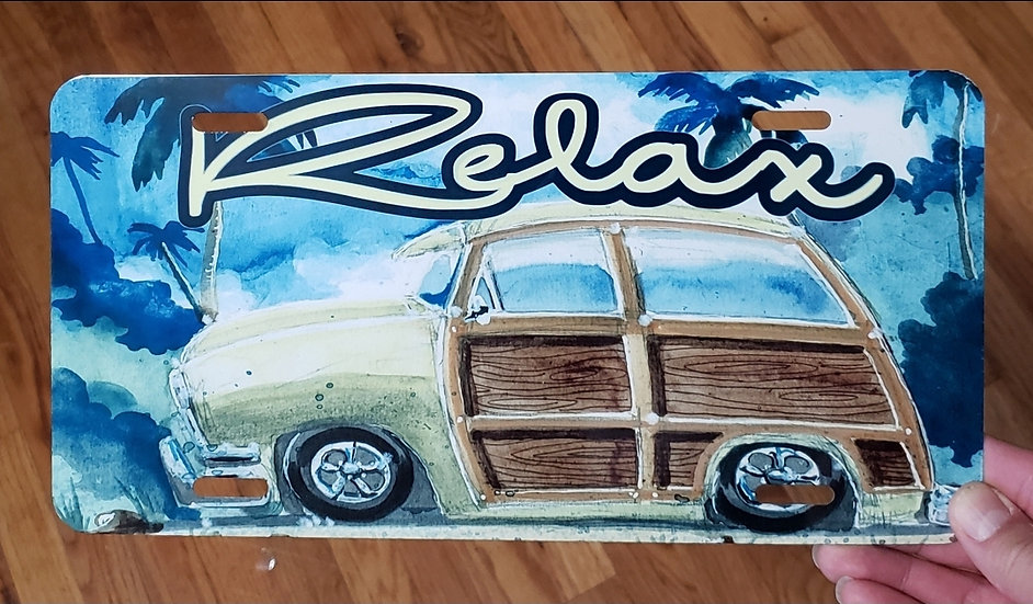 Relax Metal License Plate
