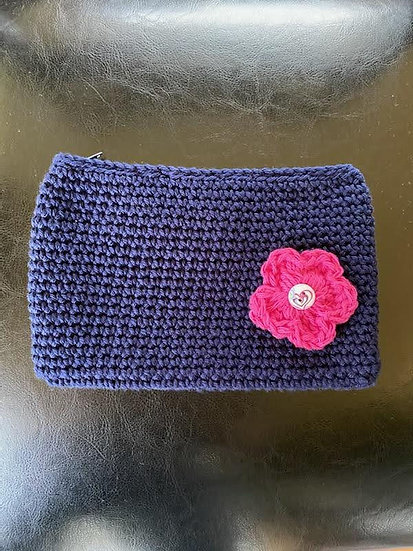 Makeup Pouch Navy with pink Flower