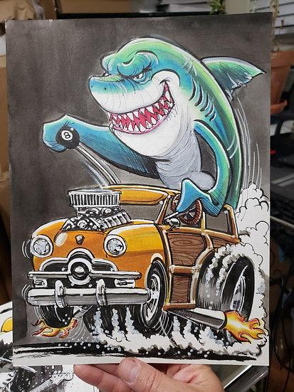 ORIGINAL 9x12  Woody Shark Illustration.