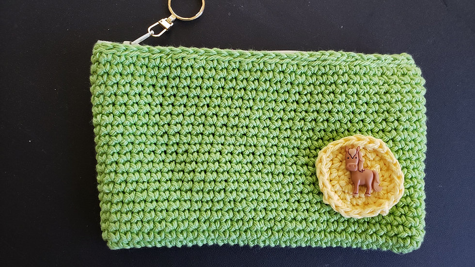 Makeup Pouch Green with Horse