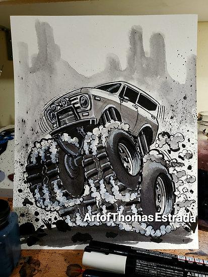 "Original 8x10 ""B&W  Scout"" Acrylic on Canvas"