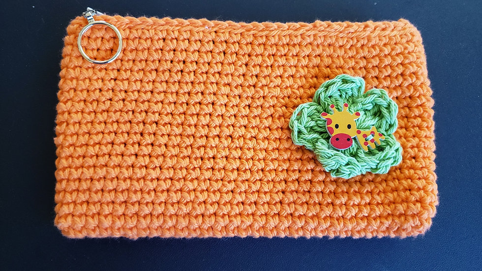 Makeup Pouch Orange with Giraffe