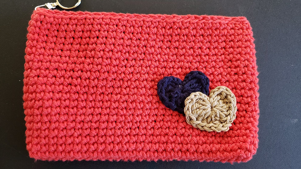 Makeup Pouch Red with Hearts