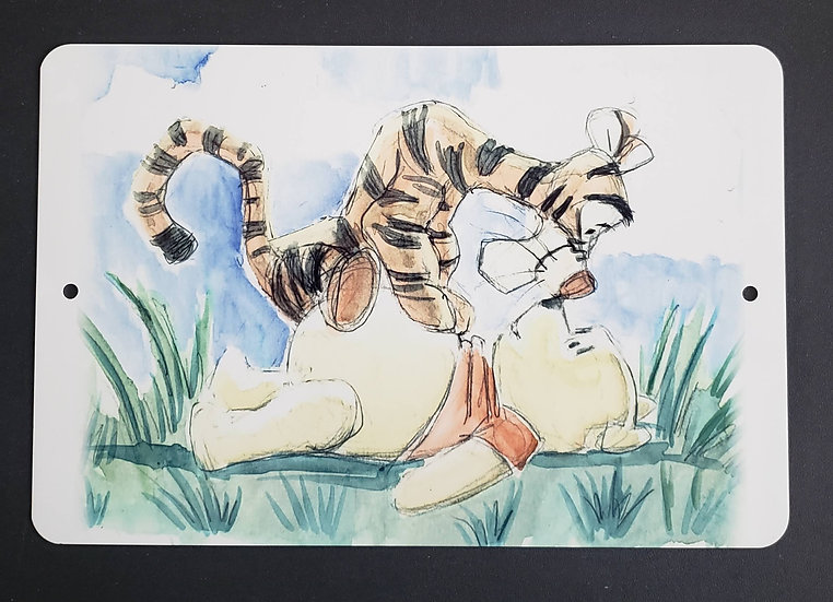 8x12 Aluminum Sign: Tigger and Pooh