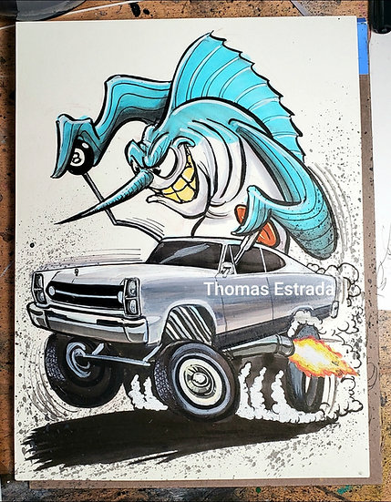 "ORIGINAL ""Rambler Marlin"" 9x12 Illustration"
