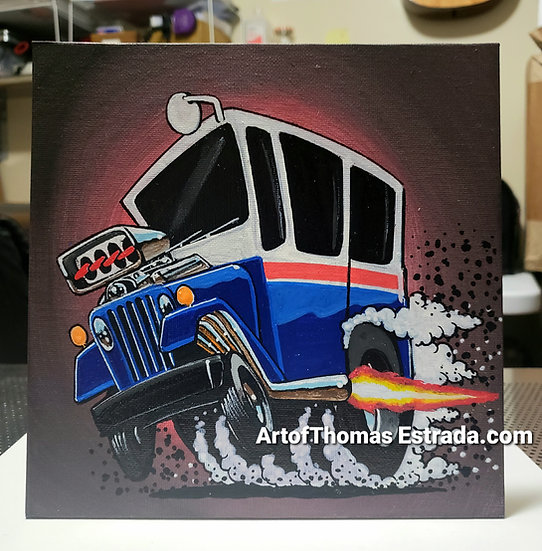 "ORIGINAL Postal Jeep 8""x8"" Acrylic on Canvas Board"