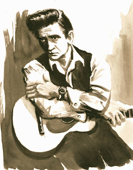 Cash with Guitar Print