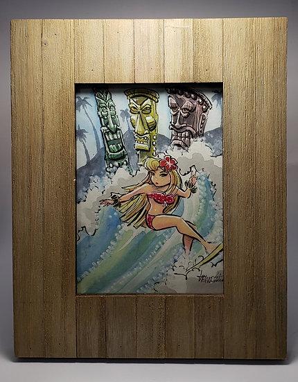 5x7 ORIGINAL Watercolor w/ Frame
