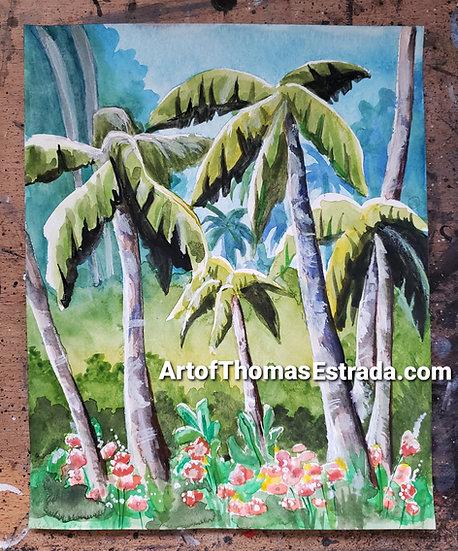 ORIGINAL 8x10 Tropical Painting