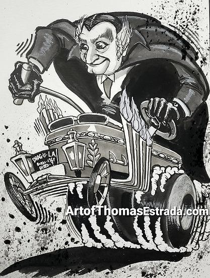 ORIGINAL 9x12  Grandpa Munster Illustration.