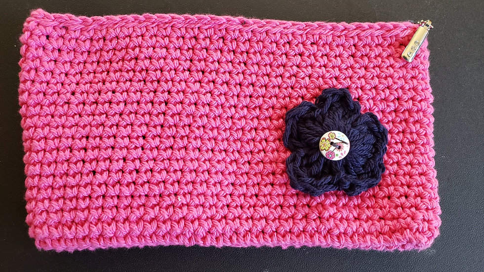 Makeup Pouch Pink with Flower