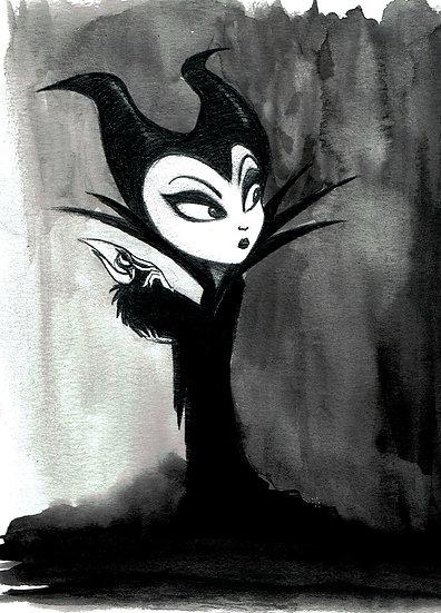 B&W Maleficent