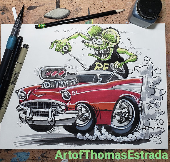 ORIGINAL 8x10 Rat Fink 57
