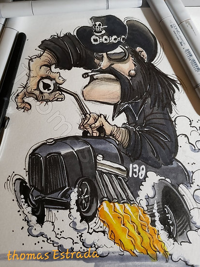 Hot Rod Lemmy Hand Signed Print