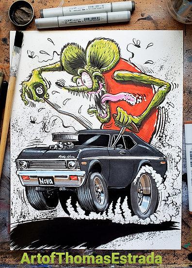 """72 Rally Nova"" Official Rat Fink Print"