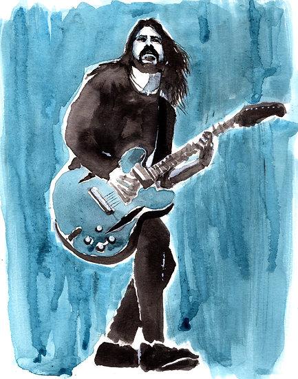 Blue Watercolor Dave Print