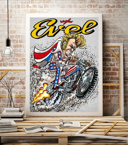 """OFFICIALLY LICENSED -LIMITED EDITION 16x20 """"EvelKnievel""""  Canvas"""