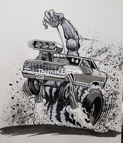 """ORIGINAL """"Chevy II"""" 11x14 Ink"""