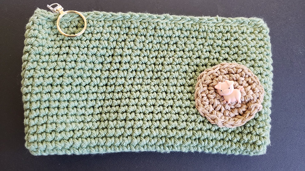 Makeup Pouch Light Green with Piggy