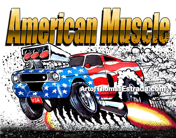 American Muscle Mustang Print