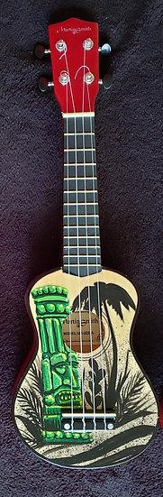 """Hand Painted """"Green Tiki"""" Ukulele"""