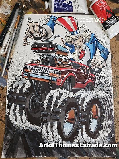 "ORIGINAL ""AMC Eagle"" 11x14 Illustration."