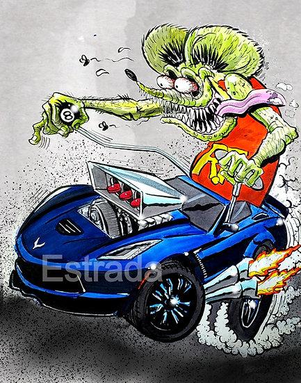 Blue Corvette Print