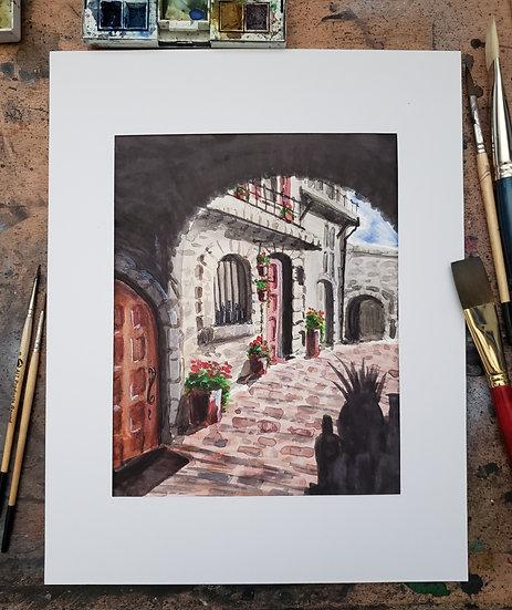 ORIGINAL 8x10 Watercolor Village Painting