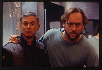 """With Roddy McDowall on the set of """"The Alien Within"""""""
