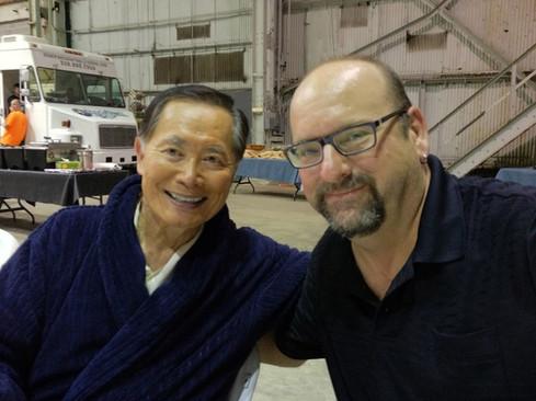 "Having lunch with George Takei on set of ""Supah Ninjas"""