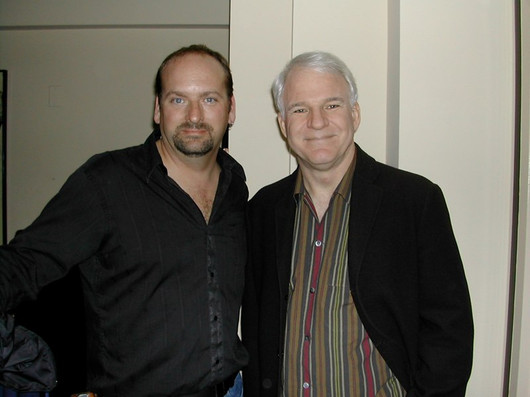 """With Steve Martin on set of """"Jiminy Glick in Lalawood"""""""