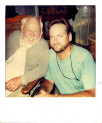 """With Mickey Rooney on the set of """"Revenge of the Red Baron"""""""