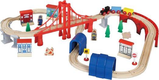 60pc Wooden Railway Set