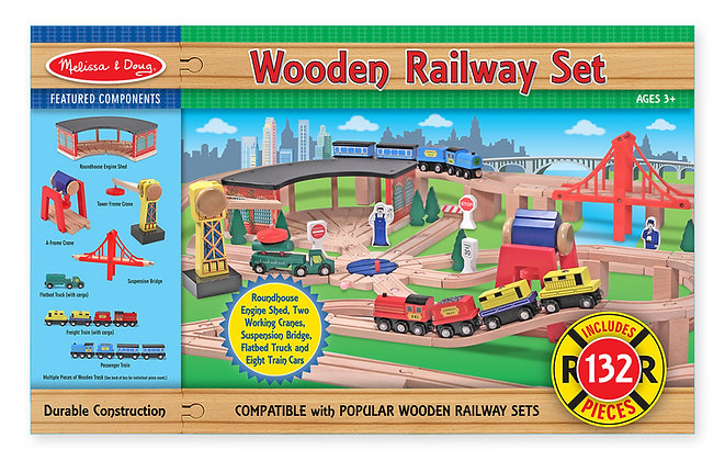 132pc Wooden Railway Set