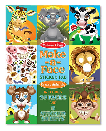 Sticker Pad: Make-a-Face Crazy Animals