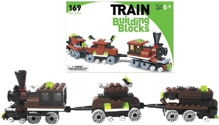 LEGO Compatible Train Building Set (Brown: 3 Cars)