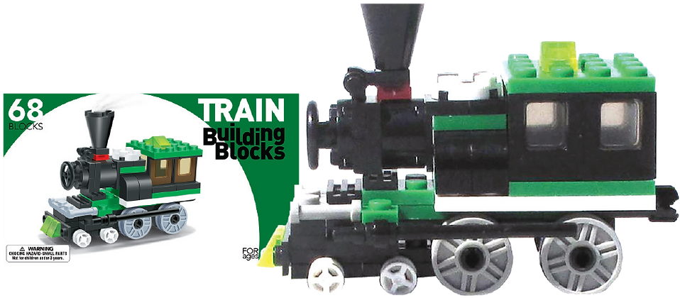 LEGO Compatible Train Building Set (Green Engine)