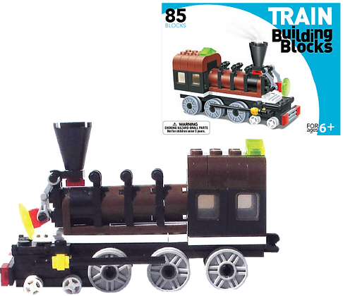 LEGO Compatible Train Building Set (Brown Engine)