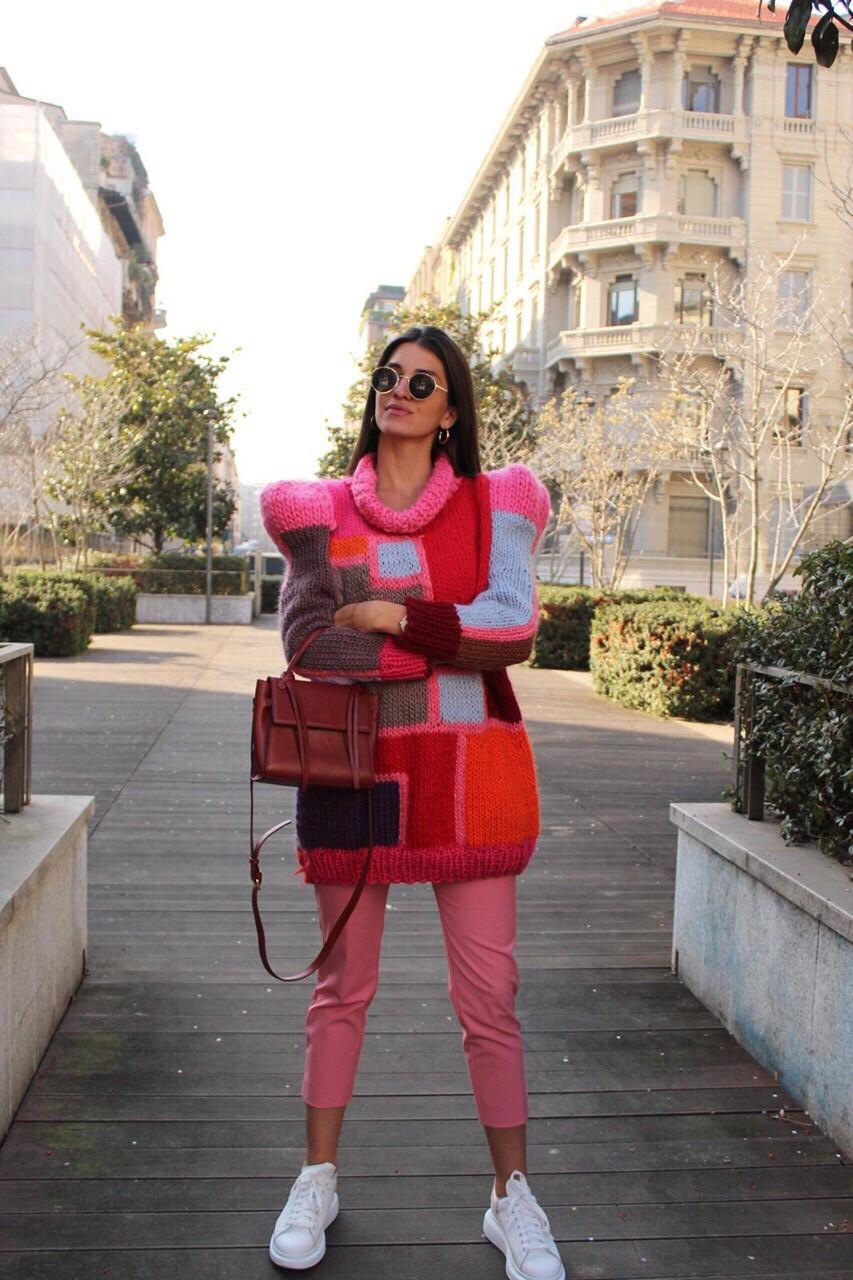 Handmade knitwear Milano street style