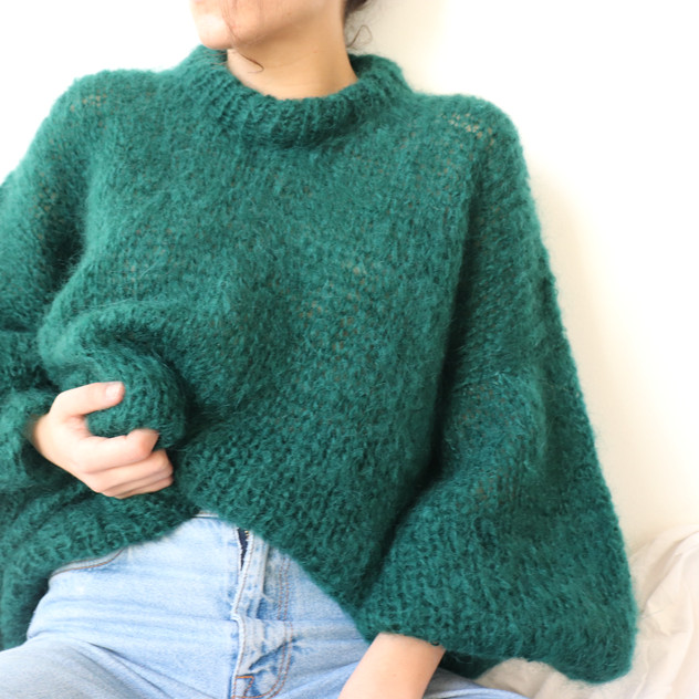 Puffy green mohair